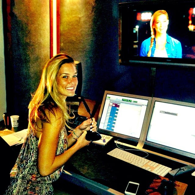 Bar Refaeli took over the control room on the set of X Factor Israel. Source: Instagram user barrefaeli