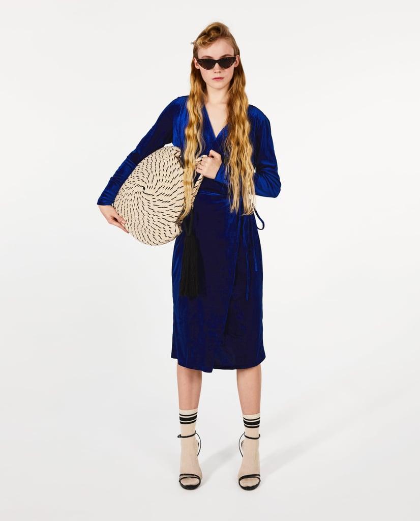 Zara Crossover Velvet Dress | Kate Middleton's Blue Velvet ...
