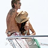 David Beckham and Victoria Beckham cuddled up on a yacht together in June 2005 while in Saint-Tropez.