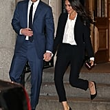 Meghan wore a black Alexander McQueen suit that was cropped at the ankle — all the better to reveal her Manolo Blahnik pumps — for the Endeavour Fund Awards ceremony in London in February 2018.