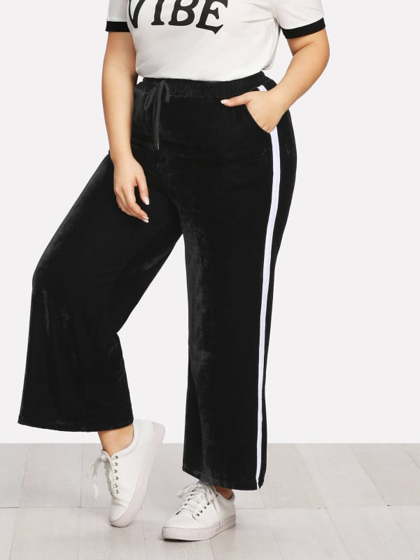Contrast Panel Velvet Wide Leg Pants