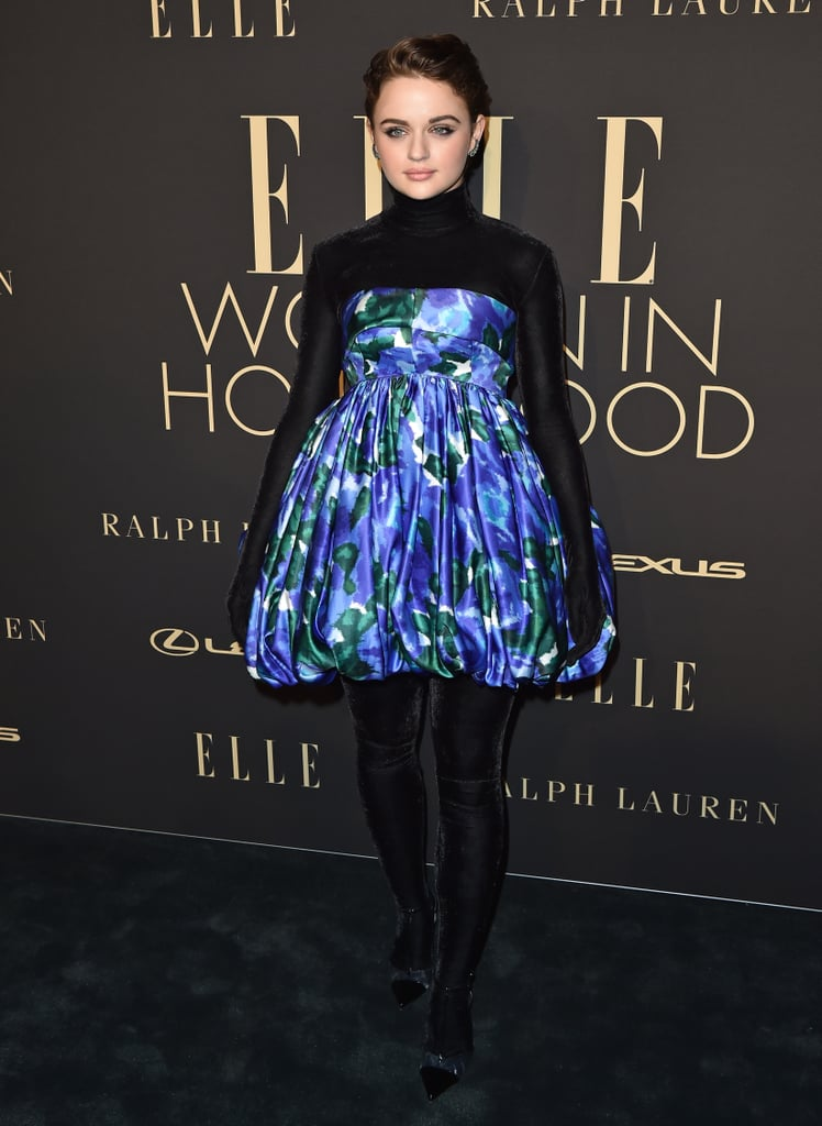 Wearing a black velvet bodysuit and impressionist floral-print dress from Richard Quinn's Fall 2019 collection to the 2019 Elle Women in Hollywood event.