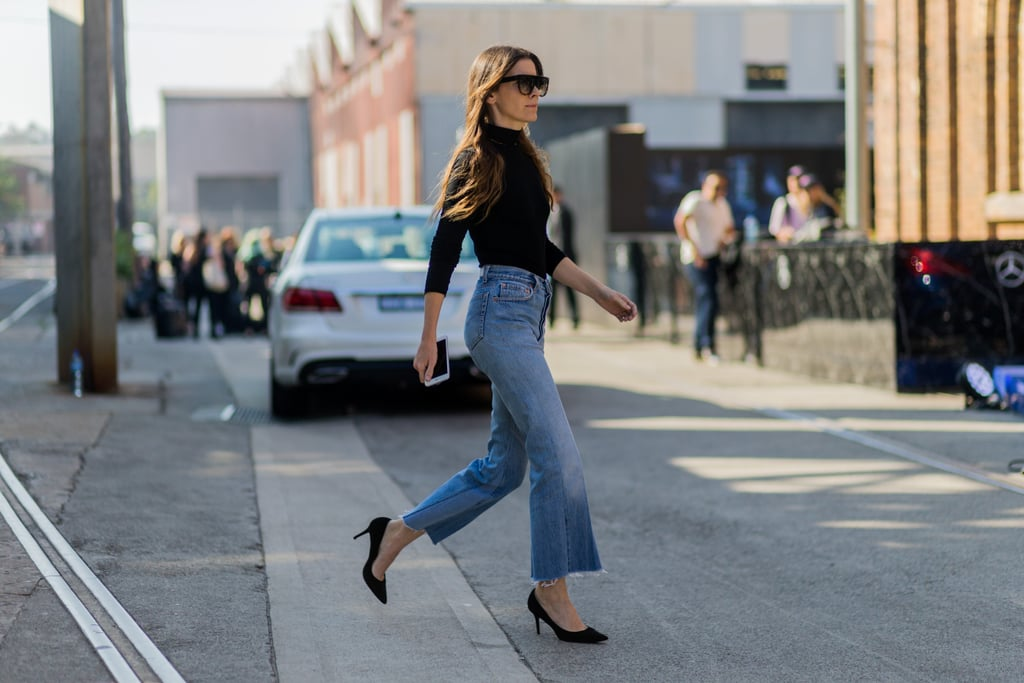 Distressed Denim Looks Sleek With a Tucked-In Poloneck
