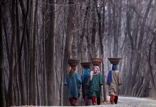 Kashmir Women Walking in Subzero Temperatures