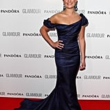 Lea Michele stole the show in an ink-blue Zac Posen gown.