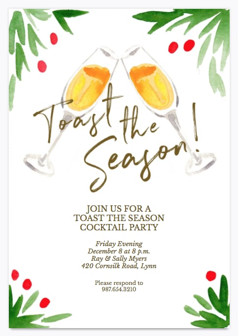 Fluted Flourish Holiday Party Invitation  Printable Holiday Party