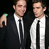 Robert Pattinson and Andrew Garfield had a laugh at HBO's Golden Globes afterparty in January 2011.