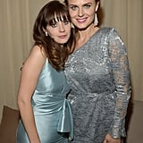 Zooey Deschanel and Emily Deschanel posed for photos at the Fox afterparty.