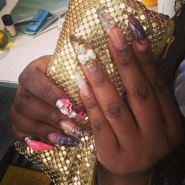 We just had to capture this incredible nail art on lead manicurist Honey backstage at Proenza Schouler.