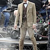Tobey Maguire wore a beige suit in Sydney.