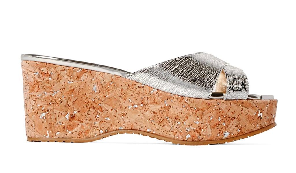 Jimmy Choo Metallic Leather Platform Sandals