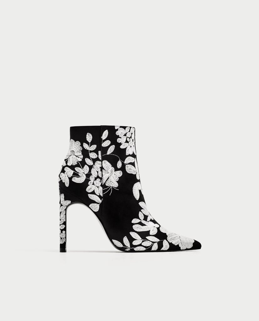 Embroidered High Heel Ankle Boots Best Zara Pieces August 2017 Detail