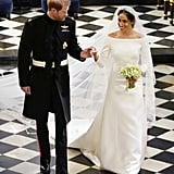 Of course, Meghan's first big moment in Givenchy came on the day of her wedding to Prince Harry. For the very special occasion, the Duchess of Sussex wore a stunning gown by Clare Waight Keller, which featured an open bateau neckline and slim three-quarter sleeves.