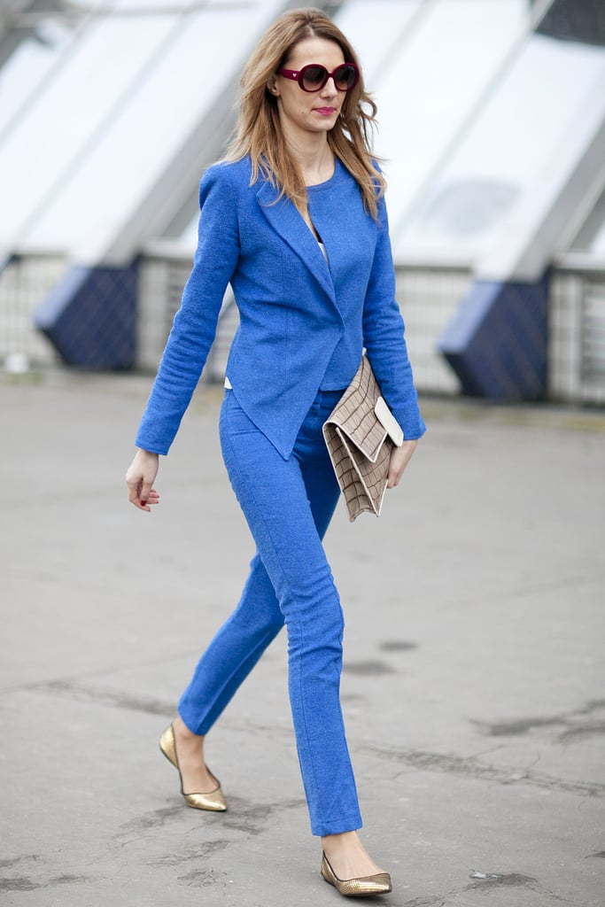 Monochromatic color play looks seriously chic in perfectly tailored fit.