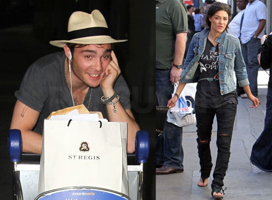 Pictures of Jessica Szohr in London and Ed Westwick Landing at JFK