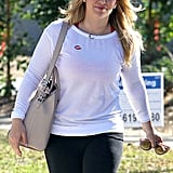 Hilary Duff had a smile on her face after leaving her local poll in LA.