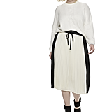 Colorblock Pleated Midi Skirt