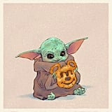Baby Yoda Eating a Mickey Pretzel