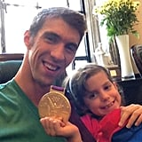 Michael Phelps shared his gold medal with his niece.  Source: Twitter user MichaelPhelps