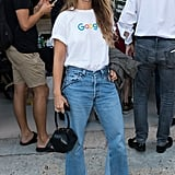 And before that, she was wearing Google's logo tee at Fashion Week in September.
