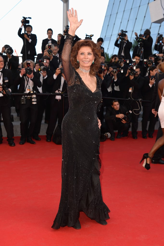 Sophia Loren waved to fans on the red carpet at the festival's closing ceremony.
