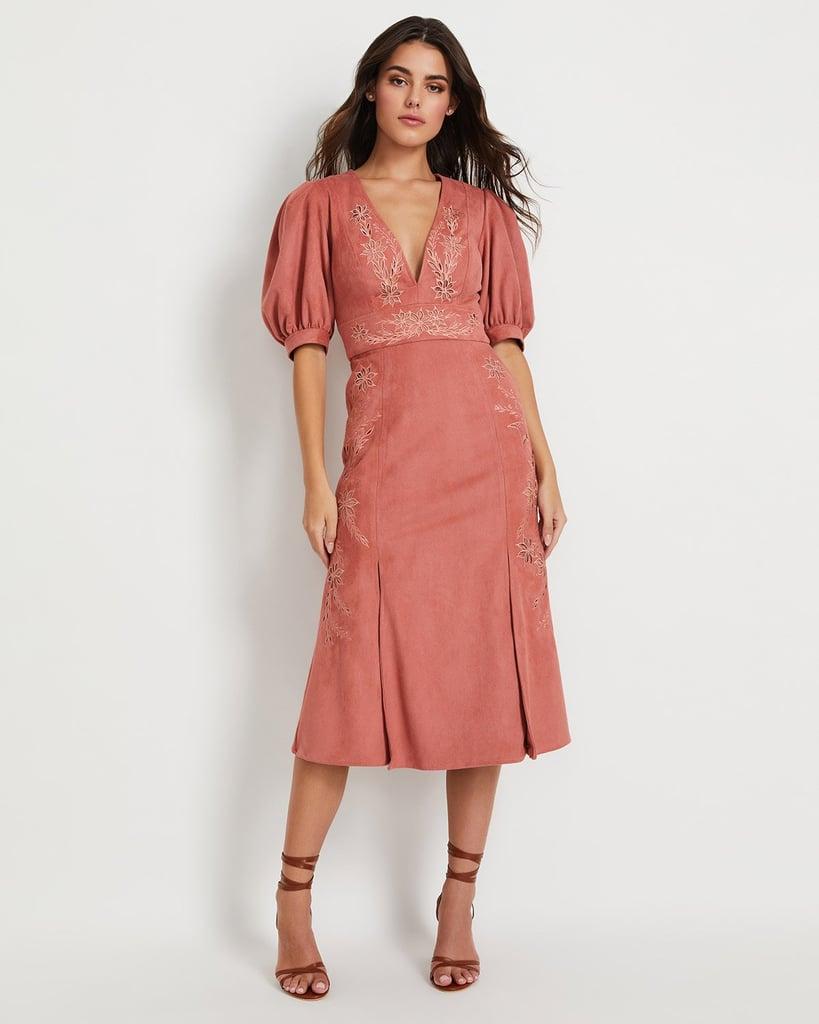 PatBo Faux Suede V-Neck Midi Dress