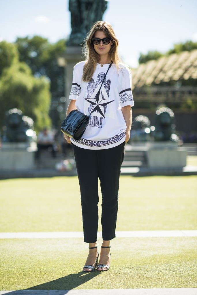 A printed tee and beaded ankle straps gives classic trousers a cool-girl upgrade.  Source: Le 21ème | Adam Katz Sinding