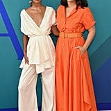 Wearing a white Rosie Assoulin outfit while posing with the designer at the 2017 CFDA Fashion Awards.