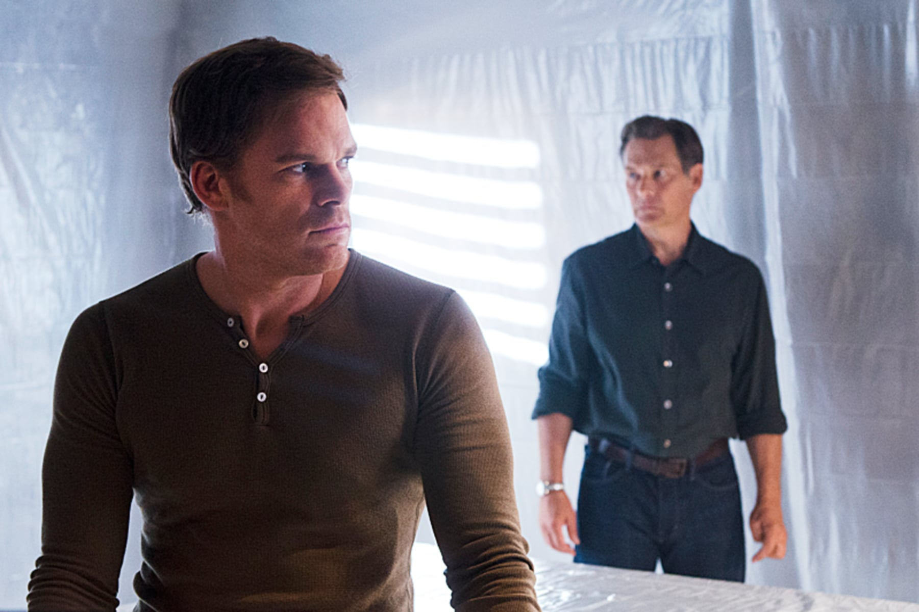 DEXTER, l-r: Michael C. Hall, James Remar in 'Goodbye Miami' (Season 8, Episode 10, aired September 8, 2013). ph: Randy Tepper/Showtime/courtesy Everett Collection