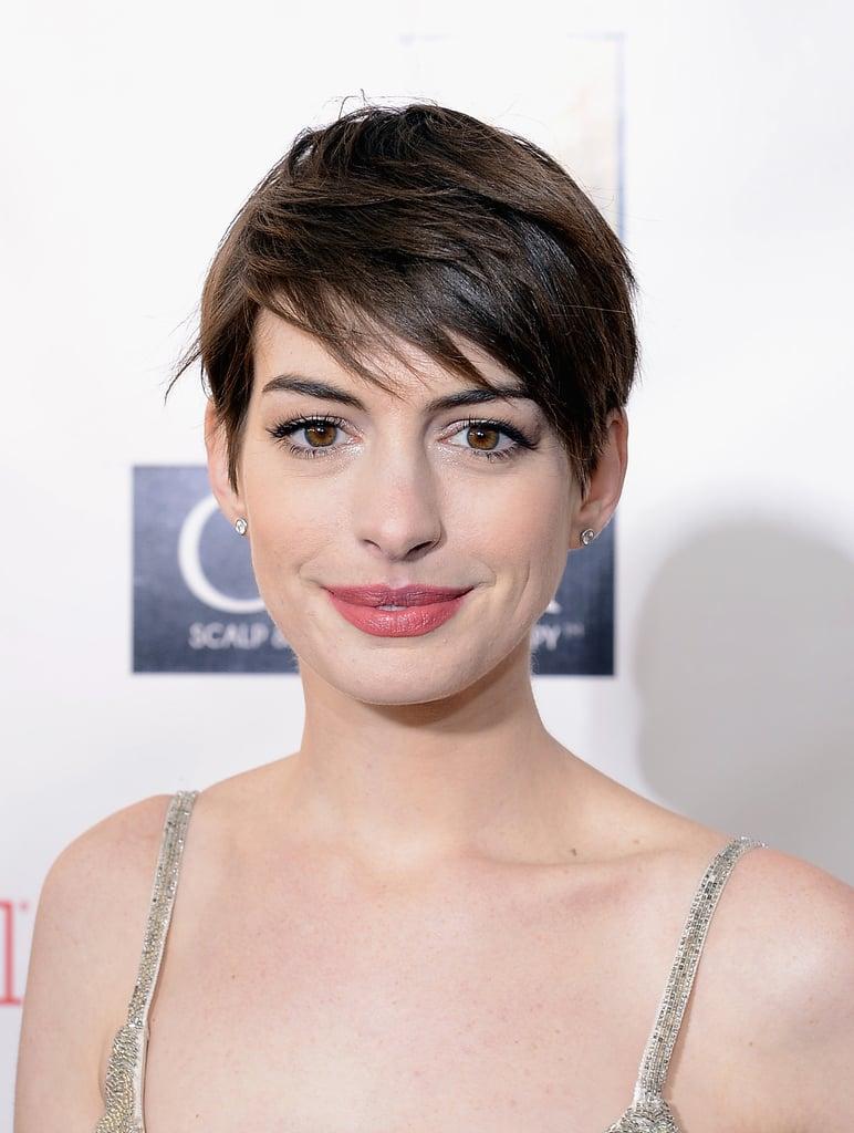 Anne Hathaway smiled at the Critics' Choice Awards.