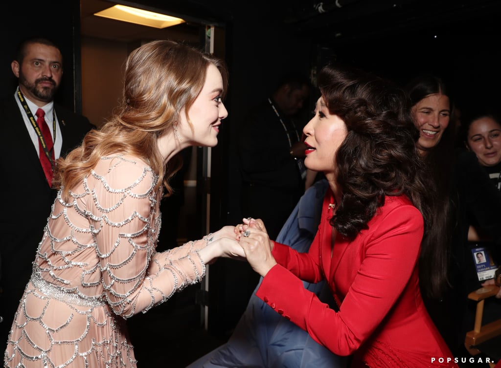 Pictured: Emma Stone and Sandra Oh