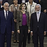 Queen Letizia wore her favorite beaded neutral-toned blazer to the International Seminar of Language and Journalism in San Millan de la Cogolla, Spain, in October 2015.