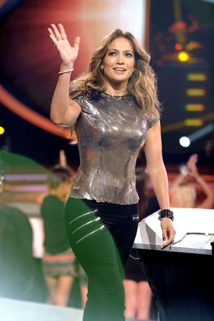 Jennifer Lopez waved to the crowd on American Idol.