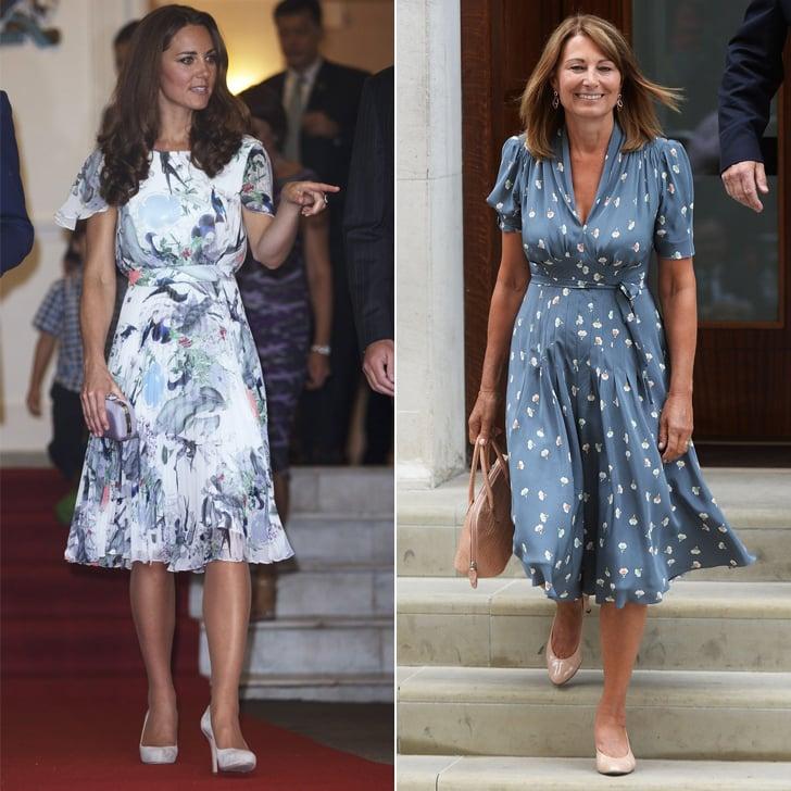 A Flouncy Knee-Length Dress in a Gray-Blue Shade
