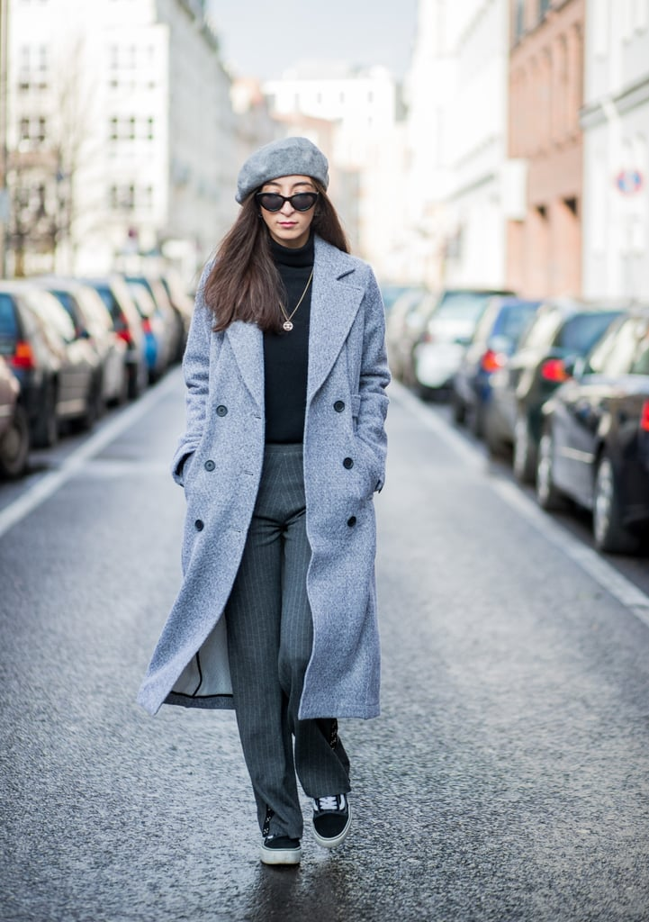 With a Long Overcoat, Turtleneck, and Beret