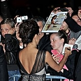 Evan Longoria signed autographs for fans on her way into the opening night dinner at the Cannes Film Festival.