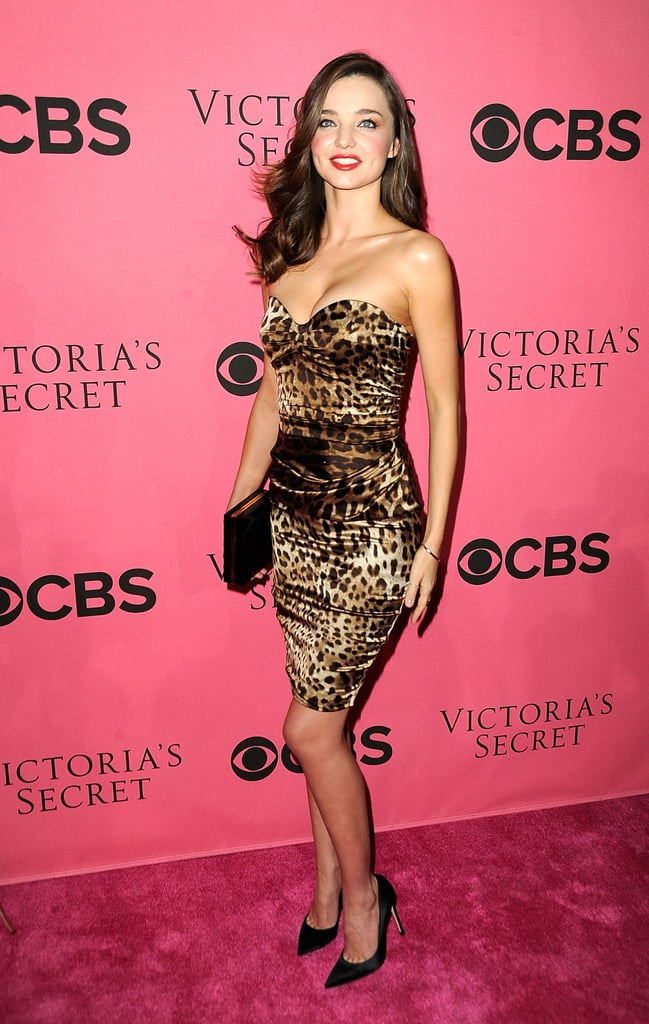 Miranda Kerr wore animal print to a viewing party.