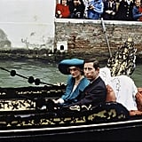 The couple were photographed taking a gondola ride through Venice's Grand Canal in 1985.