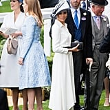Meghan mingled near Eugenie and Beatrice at her first Royal Ascot appearance in June 2018.