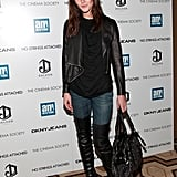 Hilary Rhoda practically smolders in a look that's equal parts girls' night out or fit to hang with the boys.