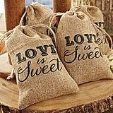 """""""Love is Sweet"""" Burlap Drawstring Favor Bag"""