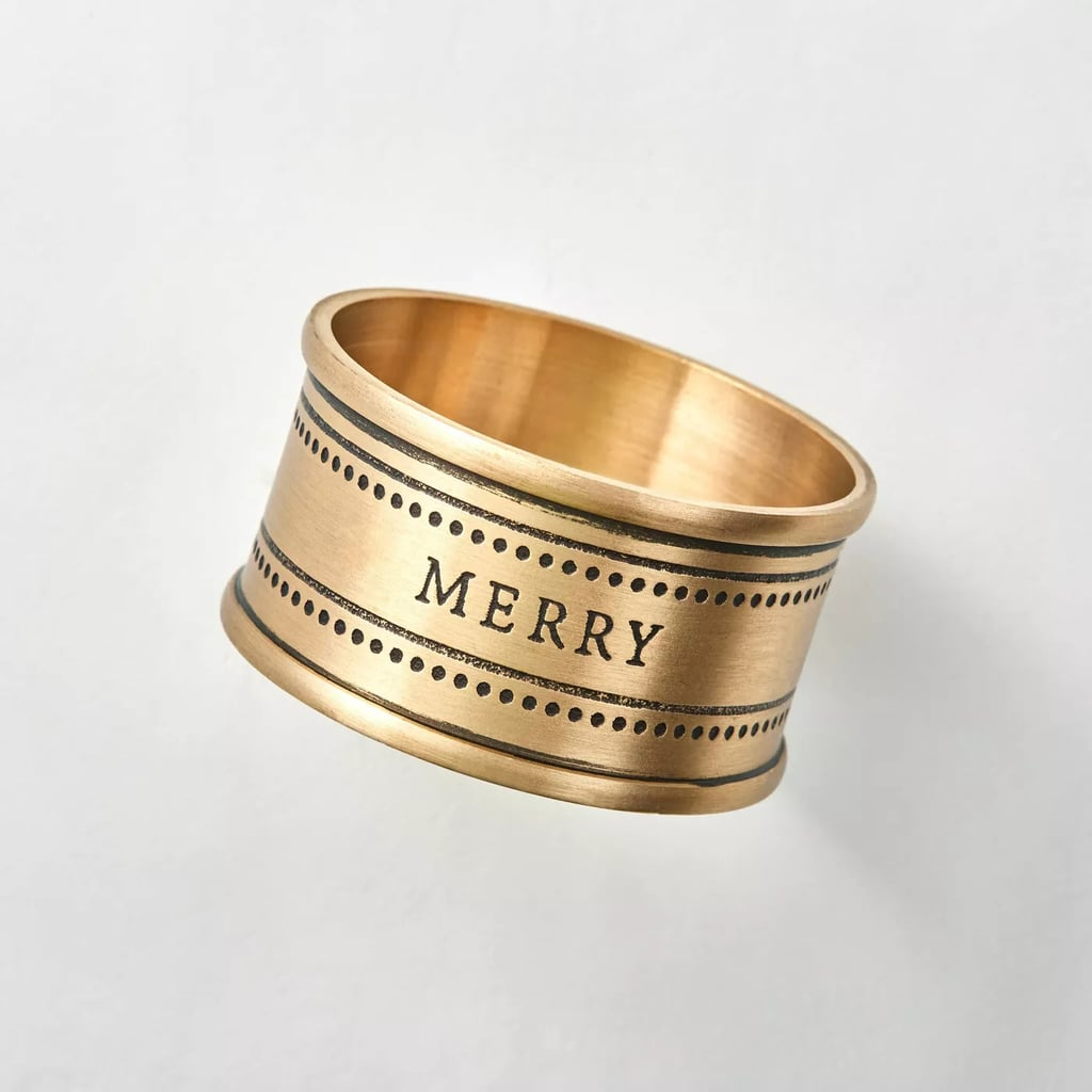 Matte Brass Napkin Ring Set