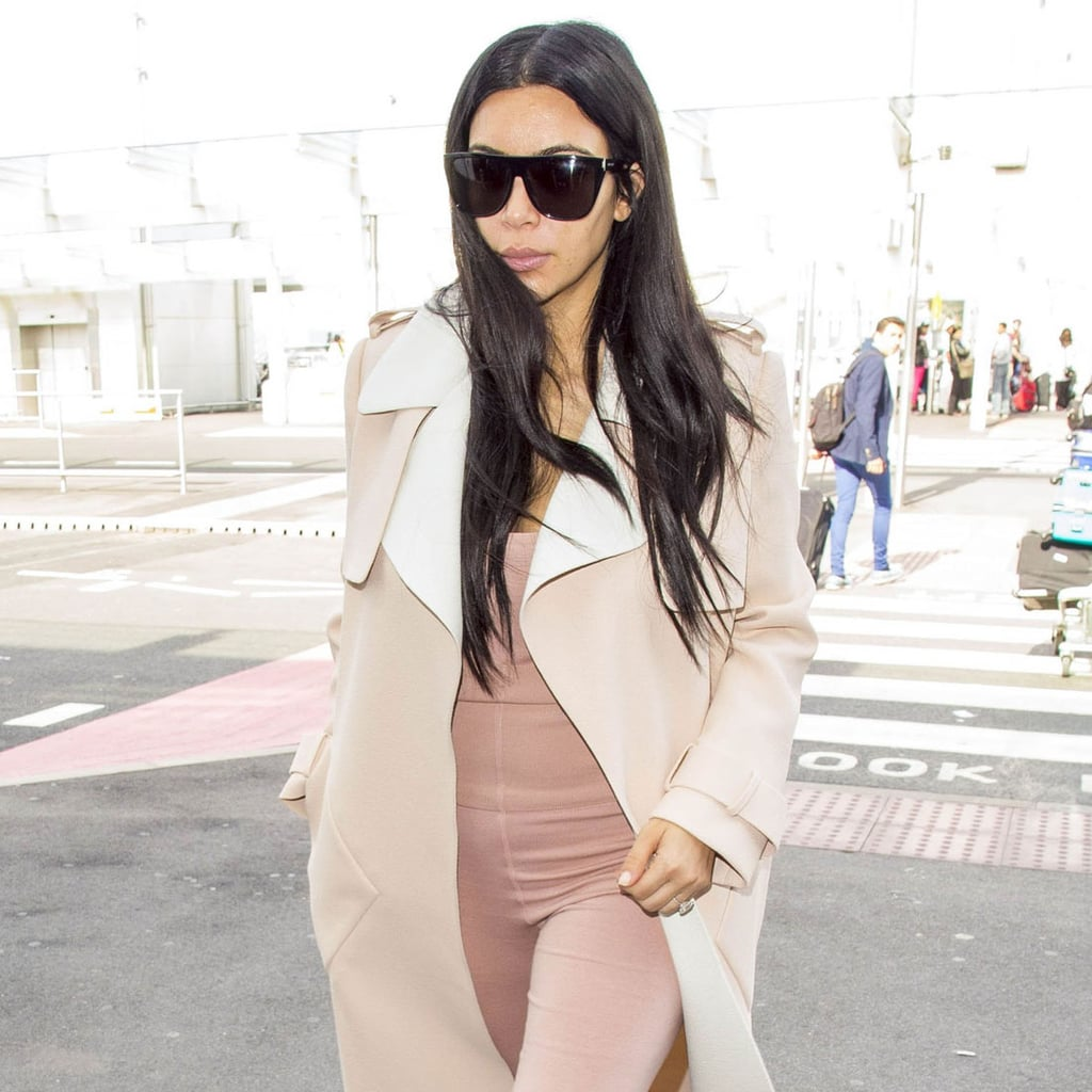 Kim Kardashian Nude Jumpsuit at the Airport