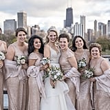 These beige bridesmaids dresses were topped with pale blush shawls.