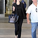 Nicole Kidman's colorblock Céline tote popped against her all-black travel ensemble as she made her arrival at LAX.