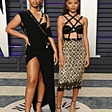Chloe x Halle Wearing Versace at the 2019 Vanity Fair Oscars Party
