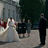 Princess Margaret (Vanessa Kirby) walks out to greet Prince Philip (Matt Smith).