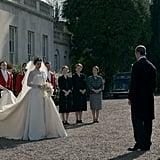 Princess Margaret (Vanessa Kirby) walks out to greet Prince Philip (Matt Smith).
