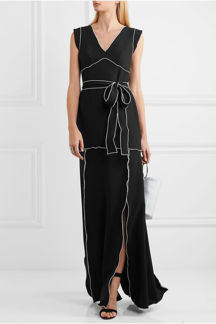 Black dress saying - Moschino Belted Crepe Gown