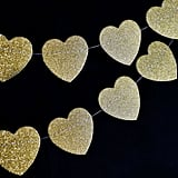 Gold Glitter Heart Shaped Paper Garland Banner